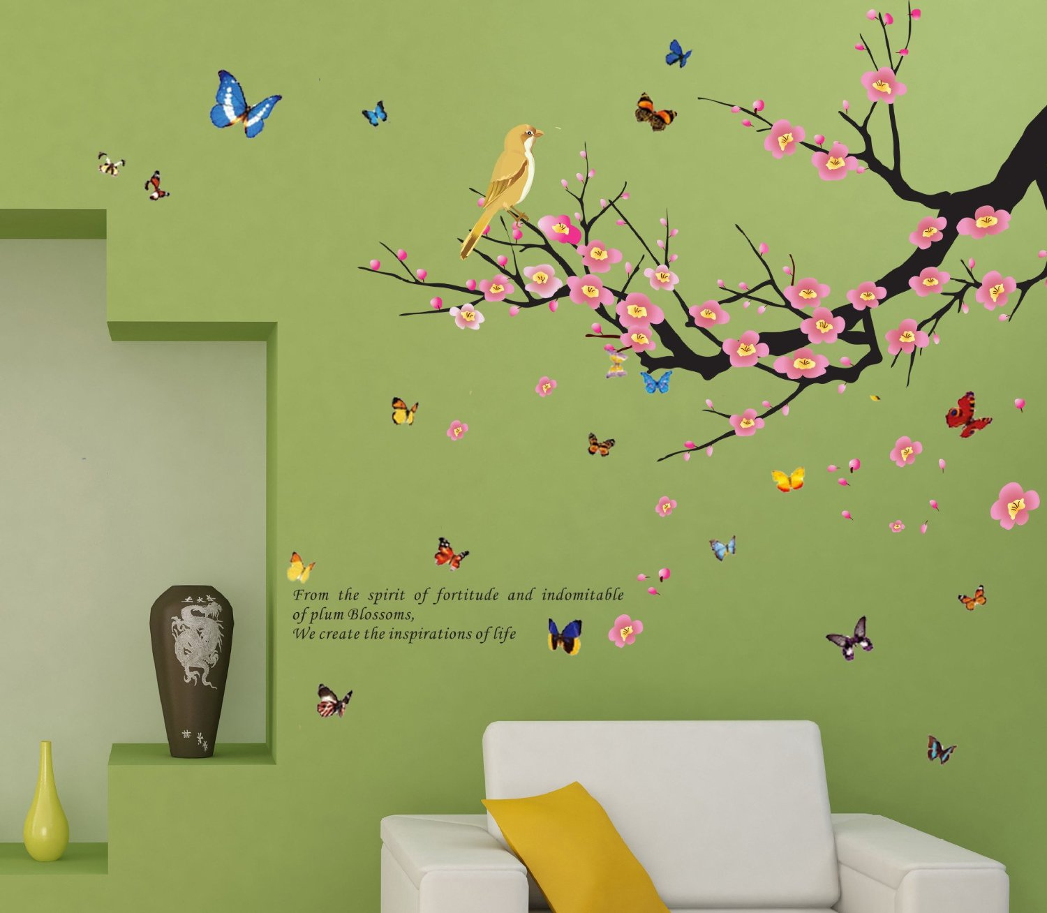 DaGou, Butterflies & Trees & birds, Home Decor large Wall Stickers & Murals, Wall Decals, Wallpaper, and Removable Wall D¨¦cor Decorative Painting Supplies & Wall Treatments Stickers for Kids Living Room bedroom wallpops decal