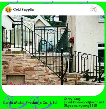 Simple Powder Coated Wrought Iron Railings Metal Railing Outdoor Stairs