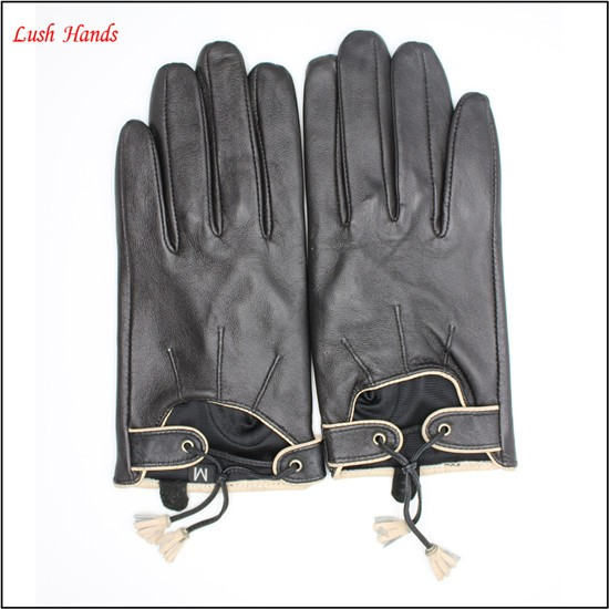 2017 ladies fashion dress tassel soft leather driving gloves