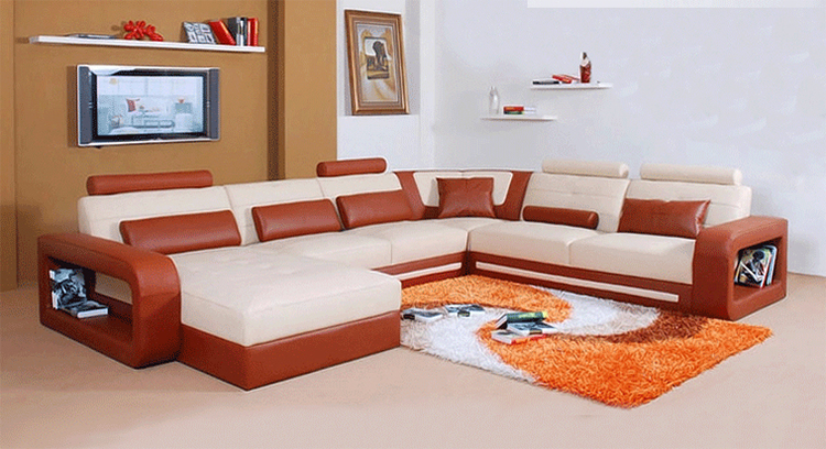 Top Quality Royal Design Sectional Corner Genuine Leather Sofa