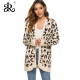 Long leopard cardigan sweater knit jacket autumn and winter new women's sweater