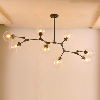 America Black Lamp Body Gl Light Shade Replacement Wrought Iron Lighting Chandelier Cup Chandeliers For Dining Hall