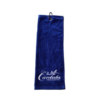 Personalized Promotional 100% Cotton Golf Towel 40x60cm Dark Blue Sport Towels With Metal Hook