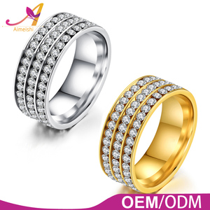 Hot sale fashion stainless steel gold plated bling bling diamond cz pave setting couple ring