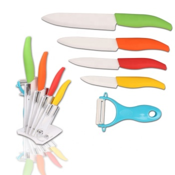 100% food contact safety 5pcs colorful handle ceramic knife set