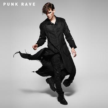 Y 508 Gothic Punk Long Sleeve Button Dress Shirts Men Linen Shirts