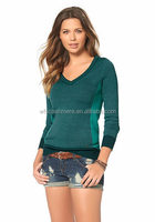 green pure merino wool v neck knitted sweaters for female
