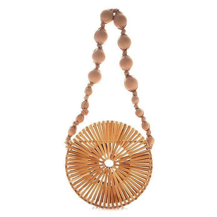 Round bamboo Beach shoulder Bag Women Crossbody Bag Tote Summer Straw Bag