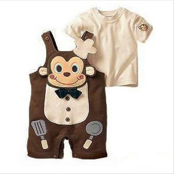 2015 Summer Style New Cook Monkey Baby Boys Clothes Boys Clothing Sets Baby Clothing Suits Baby Boy Rompers 3sets/lot