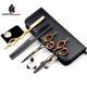 5.5'' Black Color Hair Scissors Set HT9114 Hair Cutting shear and Thinning Scissor barber scissors kit