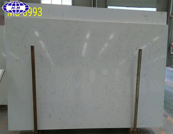 Chinese Quartz Stone White Faux Marble Slab For Kitchen Countertop