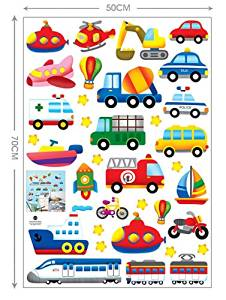 Yoovi Transportation and City Scene Kids' Room Peel and Stick Wall Sticker Decals (City scene vehicle)