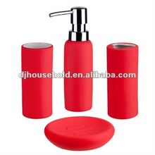 red color porcelain with rubber coating bath set of 4pcs BC9018