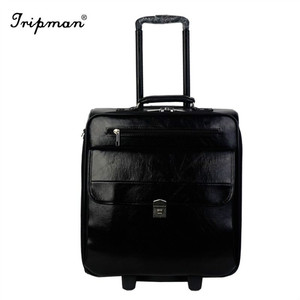 Fashion Strap Vintage Trolley With Wheel Box Unique Travel Time Clear Luggage