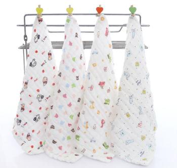 baby saliva towel with 100% cotton fabric printed