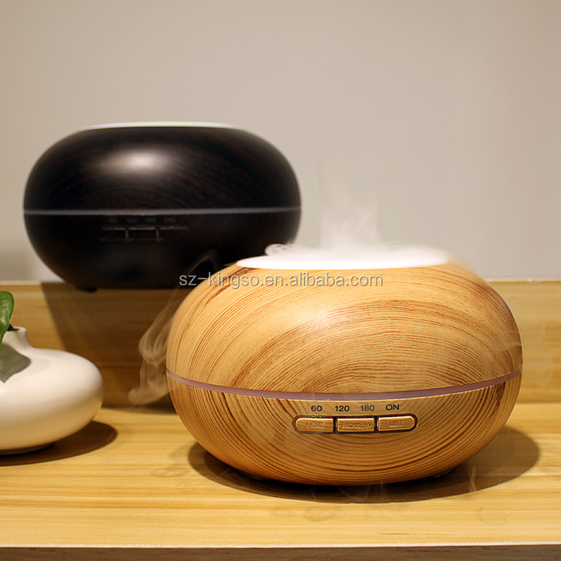 Top quality 300ml wood grain electric ultrasonic essential oil diffuser with 7 colorful LED light