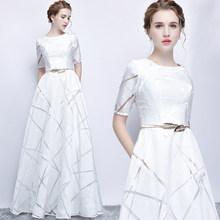 Женское вечернее платье SSYFashion, серое, с коротким рукавом, длиной до пола(Китай)