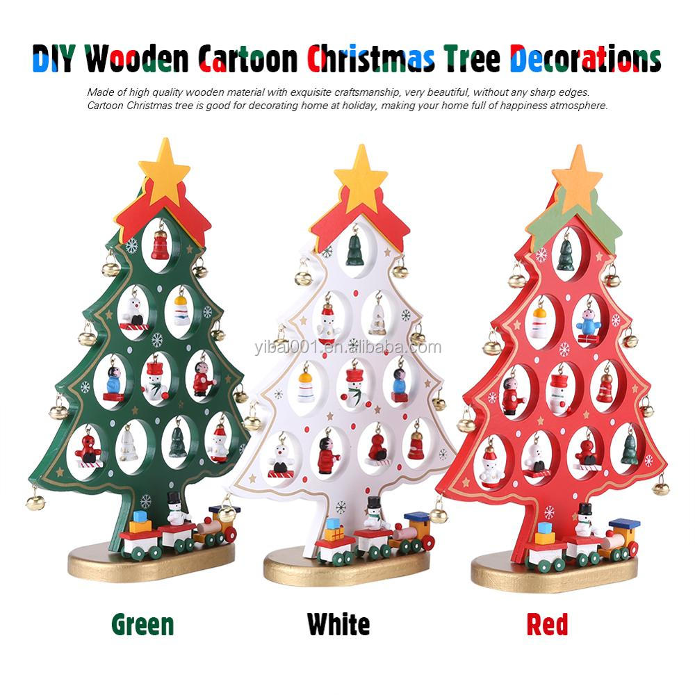 Diy Wooden Cartoon Christmas Tree Decorations Ornaments Home Display Festival Gift Buy Christmas Decorations Gifts Store Christmas Ornaments Leather