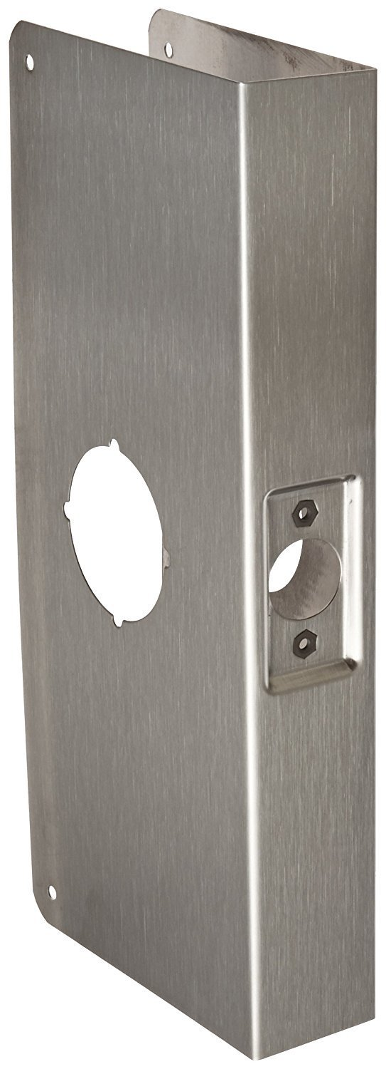 "Don-Jo 12-CW-S Stainless Steel Wrap-Around Plate, 5-1/8"" x 12"", For Cylinder Door Lock with 2-1/8"" Hole, 2-3/4"" Backset, Satin Stainless Steel Finish"