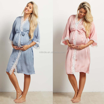 52e56b054 Tienda en línea ropa de maternidad batas Rosa satén encaje entrega  maternidad mujeres Fancy noche