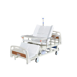 Multi functional patient care rolling hospital nursing medical bed with potty hole