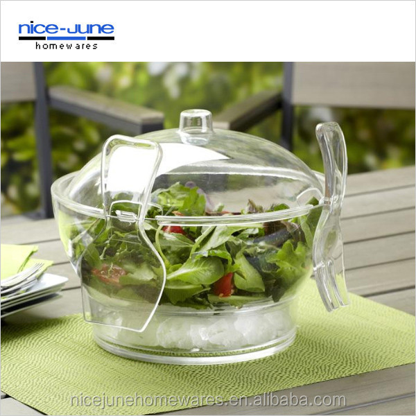 Clear Plastic Salad Bowl with lid Acrylic Serving Bowl on ice Plastic Ice Dessert Bowl