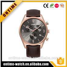 Professional Manufacturer leather band wrist watch with high performance