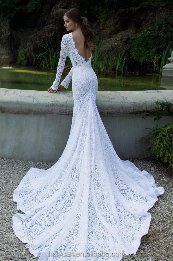 Vestiti Da Sposa Merletto.Elegante Manica Lunga Merletto Pieno Collo Alto Ultimo Stile Abito