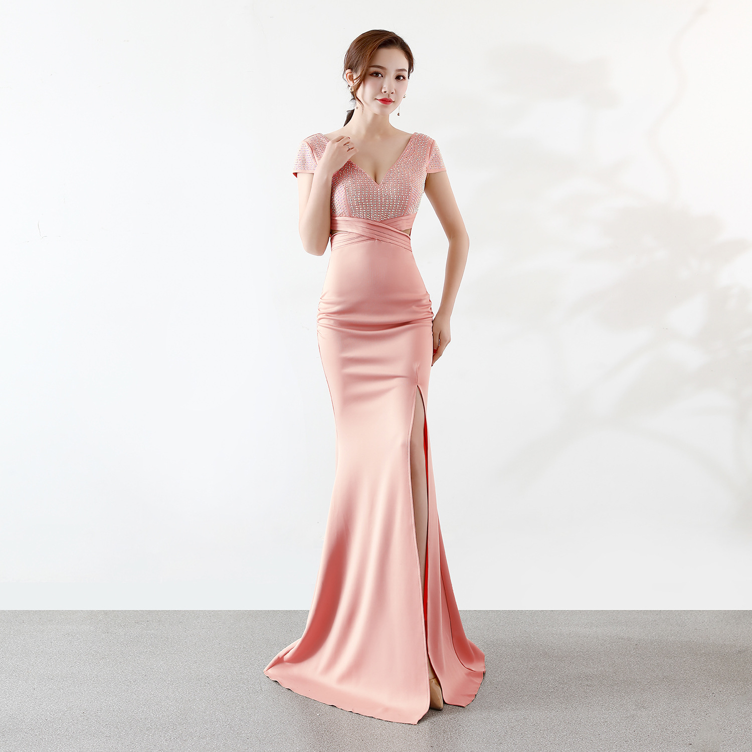 OEM wholesale New bride single word shoulder trailing lace D209 Korean style simple slim fishtail style wedding dress