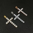 Bling bling 보석 316l stainless steel gold silver diamond 인레이 주조 cross 펜던트 대 한 men women
