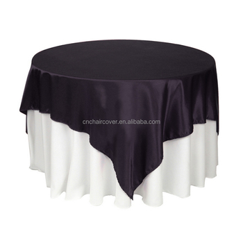 High Quality 90*90inch Square Satin Table Overlay