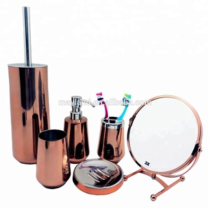 18/8 304 Stainless steel MAT Mirror Colored bath lotion pump tumbler dish toilet brush soap holder bathroom set