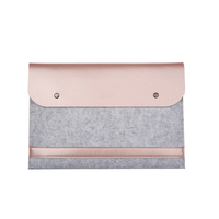 Promotional Business Felt Leather Carrying Case Handbag Wool Leather Laptop Cover Bag 12/13/15 inch