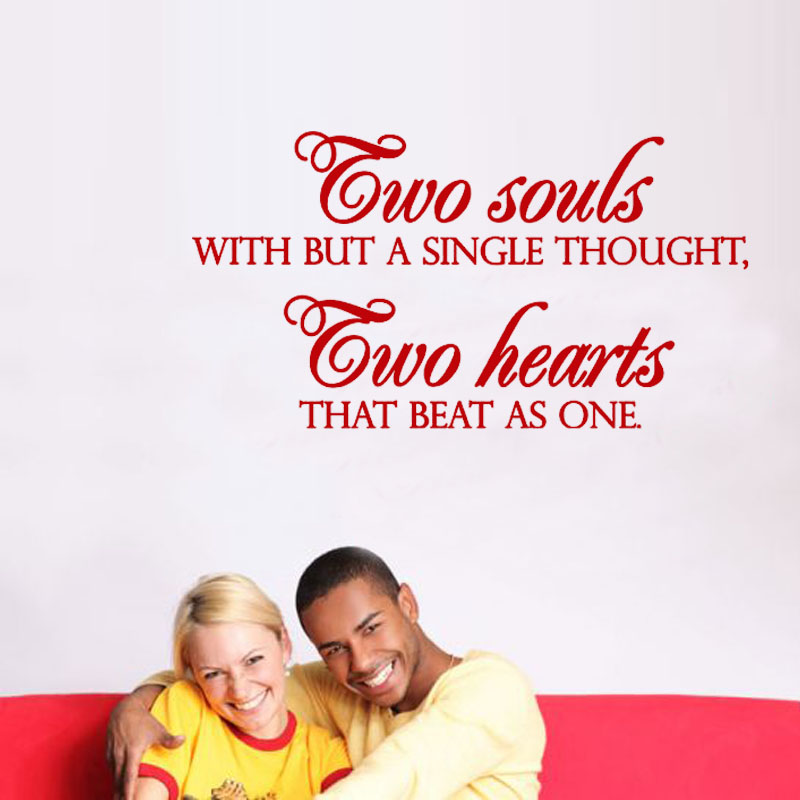 Two Souls With But A Single Thought Vinyl Art Home Decor Wall Sticker Removable Simple Sentence For Living Room