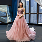 L5276 Sleeveless Evening Dresses Crystal Tulle Beaded Custom Bridal Bridesmaid Party Prom Gowns Blush Pink Real Photos