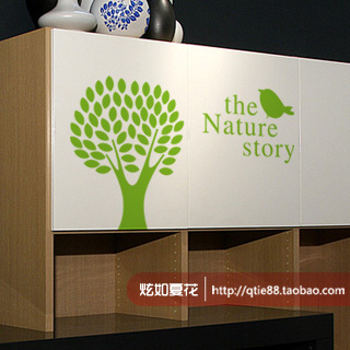 Wall stickers wallpaper big bird natural plants