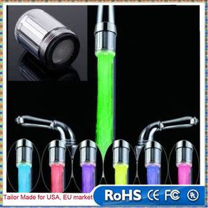 Water Faucet Light LED 7 Colors Changing Glow Shower Stream Tap universal adapter external Left screw Glow Kitchen Bathroom
