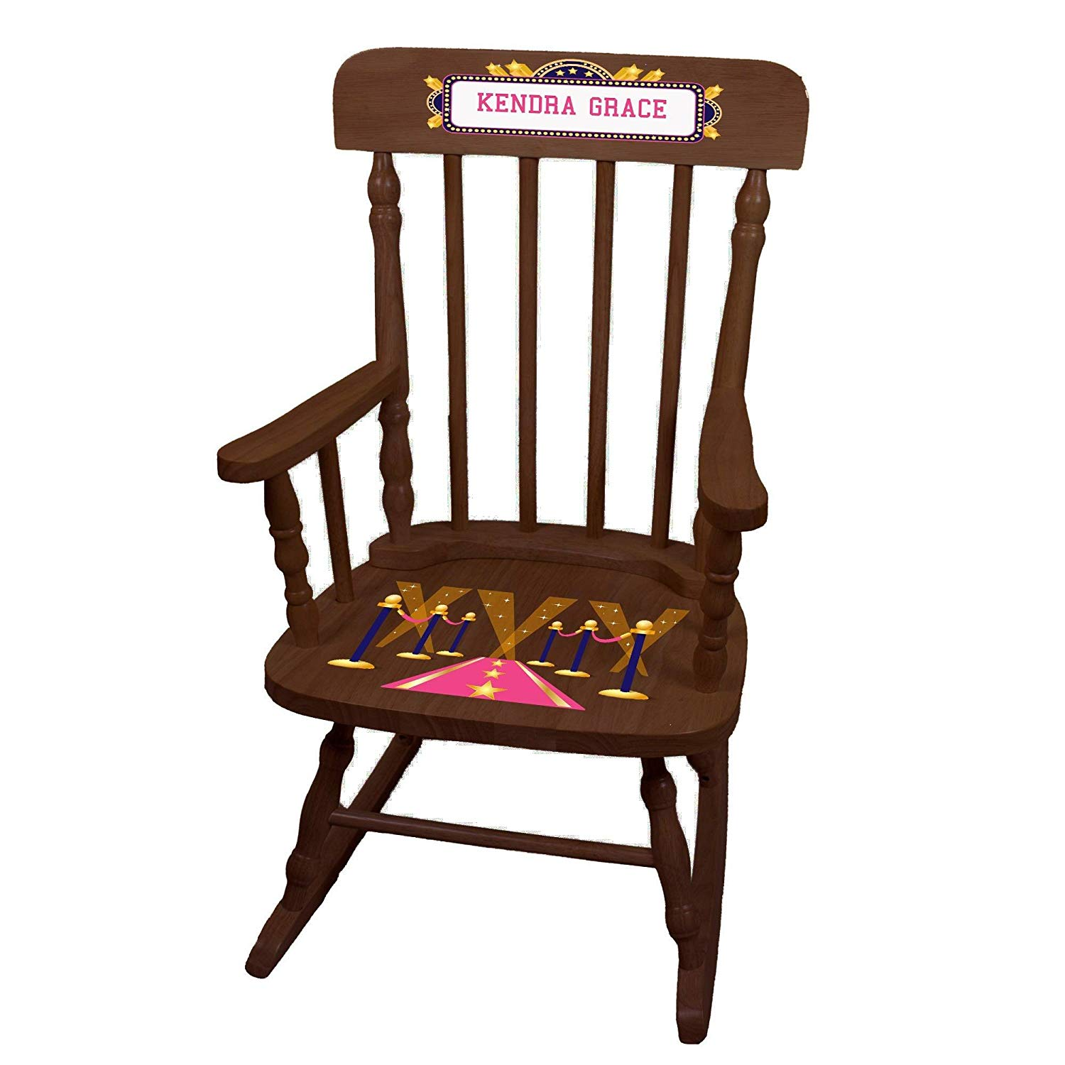 MyBambino Personalized A Star is Born pink Espresso Childrens Rocking Chair