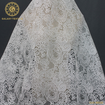China fancy custom water soluble chemical lace embroidery fabric for dress GAX-86529