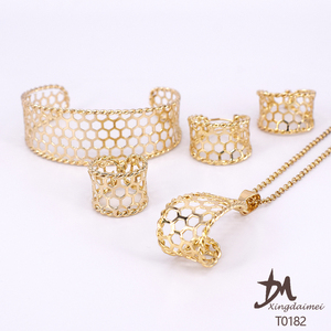 T0182 African Cheap 18K gold plated set jewelry