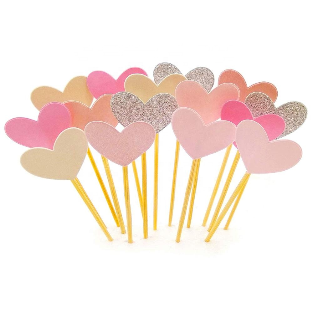 15 pcs Heart Cupcake Toppers Set Pink Heart DIY Glitter Mini <strong>Wedding</strong> <strong>Cake</strong> Decorations Picks <strong>Wedding</strong> Party <strong>Accessories</strong>