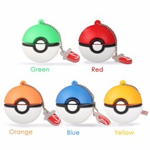 Hot sell round ball shape 6colors giveawya pokemon go accessories necklace USB pen thumb drive