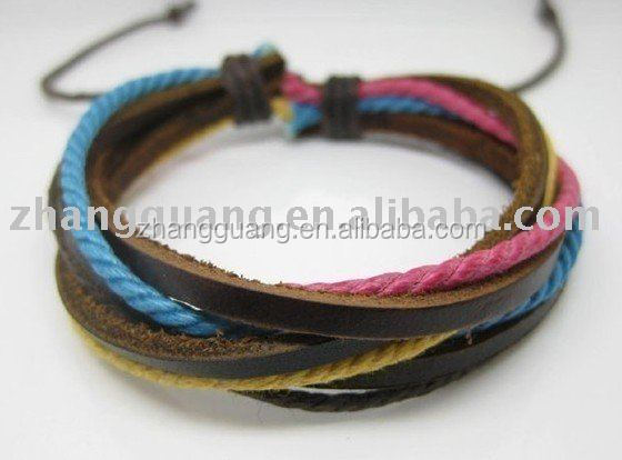 Fashion Multi-colored Cotton Ropes Brown Leather Bracelet