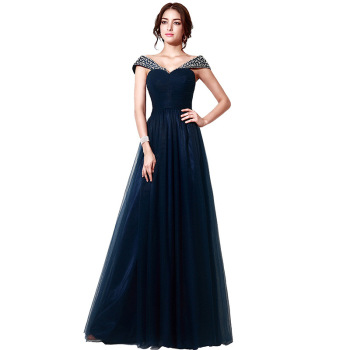 Dark Blue Off Shoulder Wrap Beaded V-neck Women Real Photos Evening ...