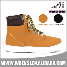 new nice fashion tan color nubuck PU high top sneakers shoes for ladies