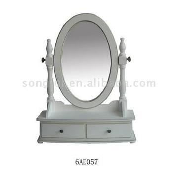 Madera Ovalada Espejo De Tocador Con 2 Pequenos Cajones Buy Espejo