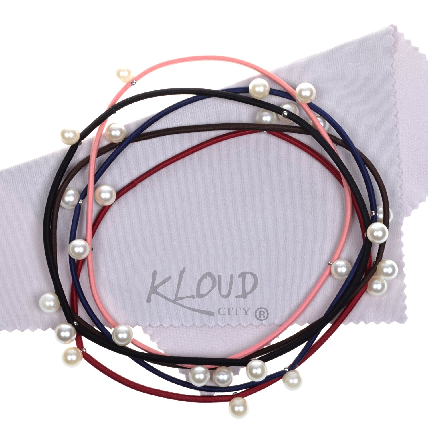 KLOUD City® Pack of 5 Assorted Colors Pearl Elastics Hair Band Headband Hair Ties Ponytail Holders (Style 3)