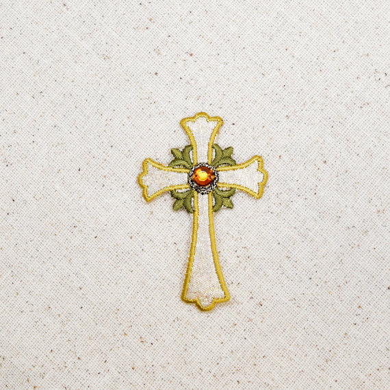 Religious Jeweled Cross Patch- Silver and Gold Embroidered Patch - Iron on Applique