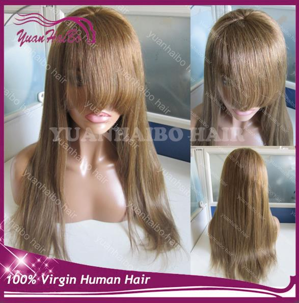Top Quality! light brown virgin russian hair silky straight full lace wig with bangs for women