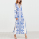 2017 European Fashion Blue And White Vintage Print Boho Sexy Slit Maxi Dress